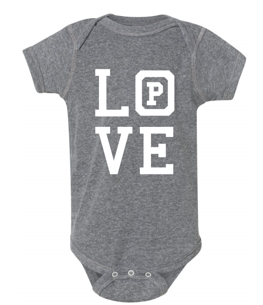 "Heather Grey onsie with the word ""Love."""