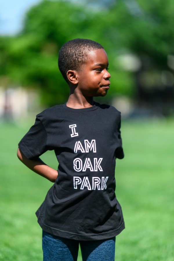 "Kid with t-shirt reading ""I am Oak Park."""