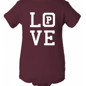 """Maroon onsie with the word """"Love."""""""