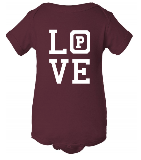 "Maroon onsie with the word ""Love."""
