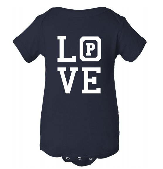 "Navy colored onsie with the word ""Love."""