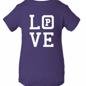 "Purple onsie with the word ""Love."""